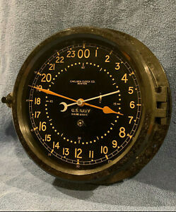 Fully Restored 1942 Wwii Us Navy 24hr Chelsea Ships Clock 8 5 Dial