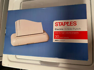 Staples Electric 3 hole Punch 30 Sheet Capacity White 37959 New In Box
