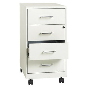 Space Solutions 19537 4 Drawer File Cabinet White Letter