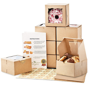 Premium 4x4x2 5 Inches Small Cookie Boxes With Window 50 Pack Extra Thick