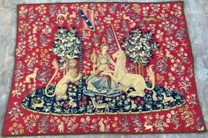 16686 Vintage French Pictorial Tapestry Lady With Unicorn Authentic Style 3x4ft