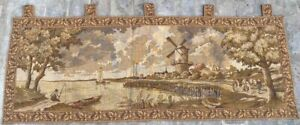 16715 Vintage French Pictorial Tapestry Amazing Wall Hanging Home Decor 2x5 Ft