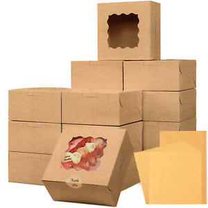 Moretoes 24pcs 6x6x3in Brown Bakery Boxes Pastry Boxes Cookie Boxes Mini Cake