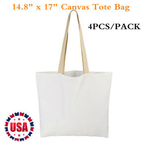 4pcs Pack 14 8 X 17 Sublimation Blank White Canvas Tote Bag Shopping Bags