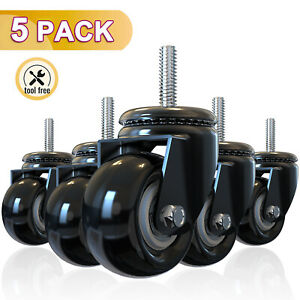 Set Of 5 Office Chair Caster Rubber Swivel Wheels Replacement Heavy Duty 2 Inch