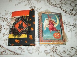 Junk Journal Pair Log Cabin Witch And Witch On Moon single Signature