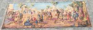 16137 Vintage French Pictorial Tapestry Authentic Wall Hanging Home Decor 2x5 Ft