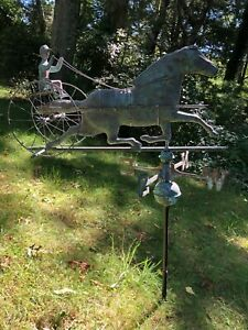 Antique Copper Sulky Jockey Horse Racing Carriage Buggy Weathervane