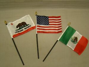 3 Flag Set Includes Mexico Usa California Flags For License Plate Topper