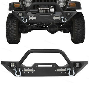 Front Bumper W D Rings Led Lights Winch Plate Fit Jeep Wrangler 87 06 Tj Yj