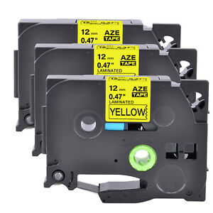 3pk Tz Tze 631 Black On Yellow Label Tape For Brother P touch Pt 9400 0 47