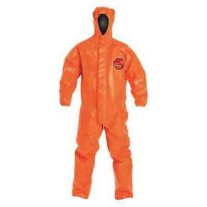 Dupont Tp198torxl000200 Hooded Chemical Resistant Coveralls Xl Orange