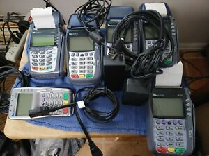 Lot Of 4 Verifone Vx570 1 Vx610 And One Vx805 Credit Card Terminal all Power On