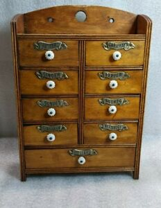 Antique 9 Drawer Wall Mount Wood Spice Box Cabinet Porcelain Knobs Tin Labels