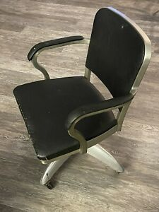 Goodform Industrial Metal Office Chair Vintage Rolling Spinning