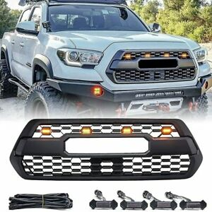 Acmex Front Grille Bumper Grill For 2016 2021 Toyota Tacoma W Letters 4 Lights