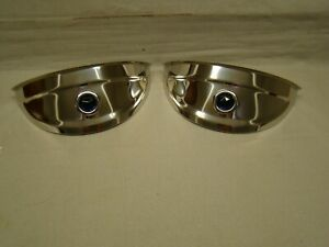 Polished Stainless Steel Head Light Visors With Blue Jewel 7 Inch Visors 7 Lids