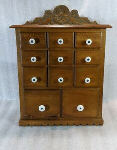Antique 11 Drawer Spice Box Cabinet Porcelain Knobs Beautiful Wood And Details