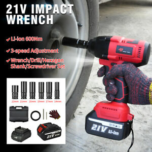 For Car 800nm Cordless Electric Impact Wrench 1 2 Brushless Driver W Battery