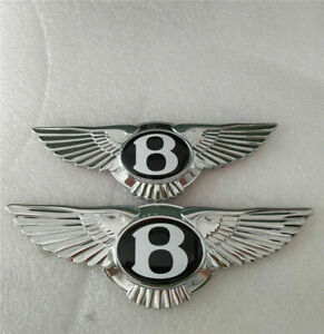 Bentley Continental Gt Gtc Flying Spur Front rear Grille Wing Badge Black 2 Pcs