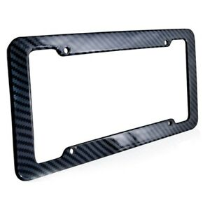 Black Car Carbon Look License Plate Frame Cover Front Rear Universal Car
