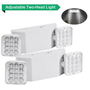 2 Pack Led Emergency Exit Light Adjustable 2 Head With Battery Back up Ul Us