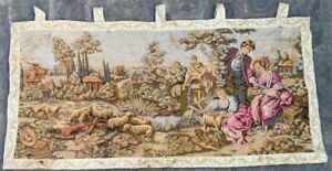 16206 Vintage French Pictorial Tapestry Authentic Wall Hanging Home Decor 1x3 Ft