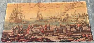 16209 Vintage French Pictorial Tapestry Authentic Wall Hanging Home Decor 3x6 Ft