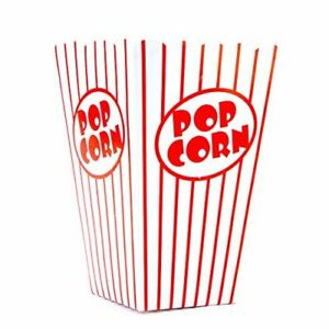 Bekith 100 Pack Paper Open Top Popcorn Box Popcorn Containers Striped Red And W
