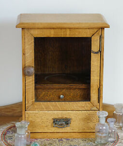 Antique Apothecary Cabinet Victorian Table Top Glazzed Oak Spice Drawers