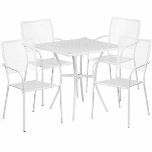 28in Square Metal Patio Table Set With 4 Square Back Chairs White Co28sq02chr4wh