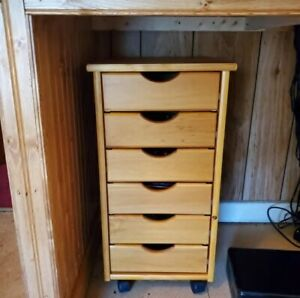 Wood Rolling Craft Storage Cabinet 6 Drawers Lightweight Home Office