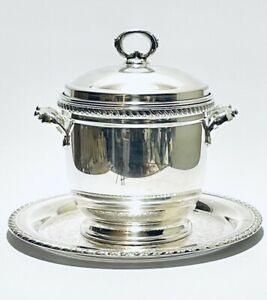 Stunning Antique Forbes International Silver Ice Bucket With Insulation On Tray
