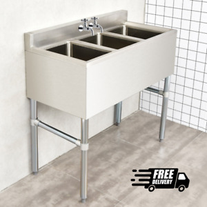 3 Compartment Stainless Steel Kitchen Commercial Sink Heavy Duty Restaurant Bar