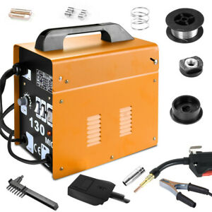 Mig 130 Welder Flux Core Wire Automatic Feed Welding Machine W Cooling Mask Us