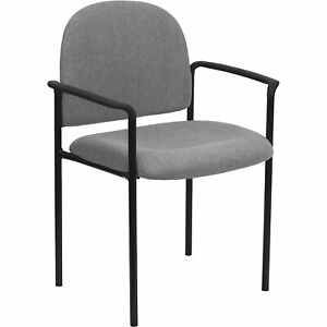 Flash Furniture Comfort Stack Chair With Arms Gray 23 3 4inwx23 1 2indx33 1 4inh