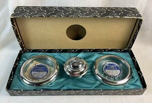 Nib Frank M Whiting Sterling Silver Glass Table Lighter And Ashtray Coaster Set