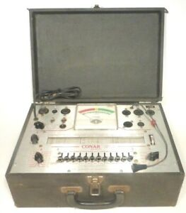 Vintage Conar 221 Tube Tester Works Great nice Rolling Chart W 2 Info Reprints