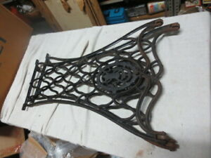 Singer Sewing Machine Cast Iron Pair Treadle Base Legs Side Table Industrial