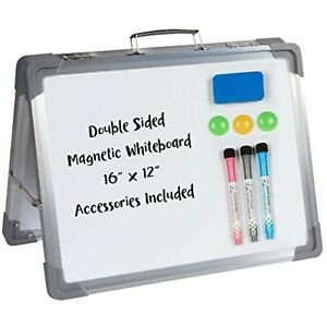 Desktop Dry Erase Magnetic Whiteboard 16 X 12 Double Sided Foldable