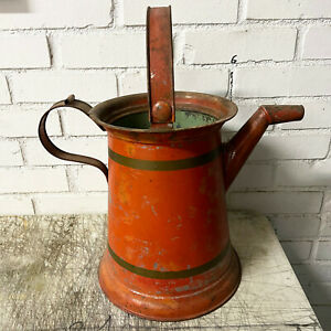 Vintage Tole Metal Red Painted Watering Can