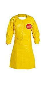 New Case Of 25 Dupont Tychem Qc275b 44 inch Sleeved Aprons With Elastic Cuffs