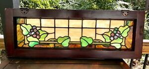 Antique Arts Crafts Stained Glass Transom Window 34 X 12