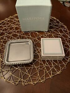 Mariposa Silver Sticky Note Holder W Teal Brown Paper Office Gift Post It Note