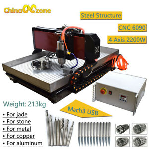 Steel 6090 4axis Cnc Router Mach3 Cnc Milling Machine Copper Steel Brass 2 2kw