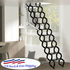 Electirc Acctic Ladder Aluminum Folding 12ft With Remote For Loft Us Stock