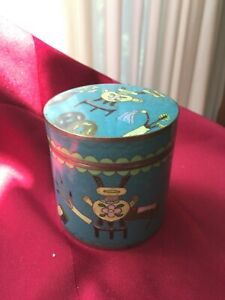 Chinese Deco Cloisonne Tea Caddy Box With Scholars Tools Circa 1920 S