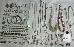 Sterling Silver Jewelry Lot All Stamped 925 Wearable 53 Pieces 450gr No Scrap