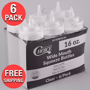 6 pack 16 Oz Clear Wide Mouth Plastic Condiment Ketchup Sauce Squeeze Bottle