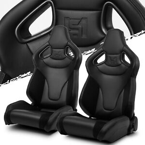 C Series Reclinable Black W Suede Pvc Sport Racing Seats Pair With Slider